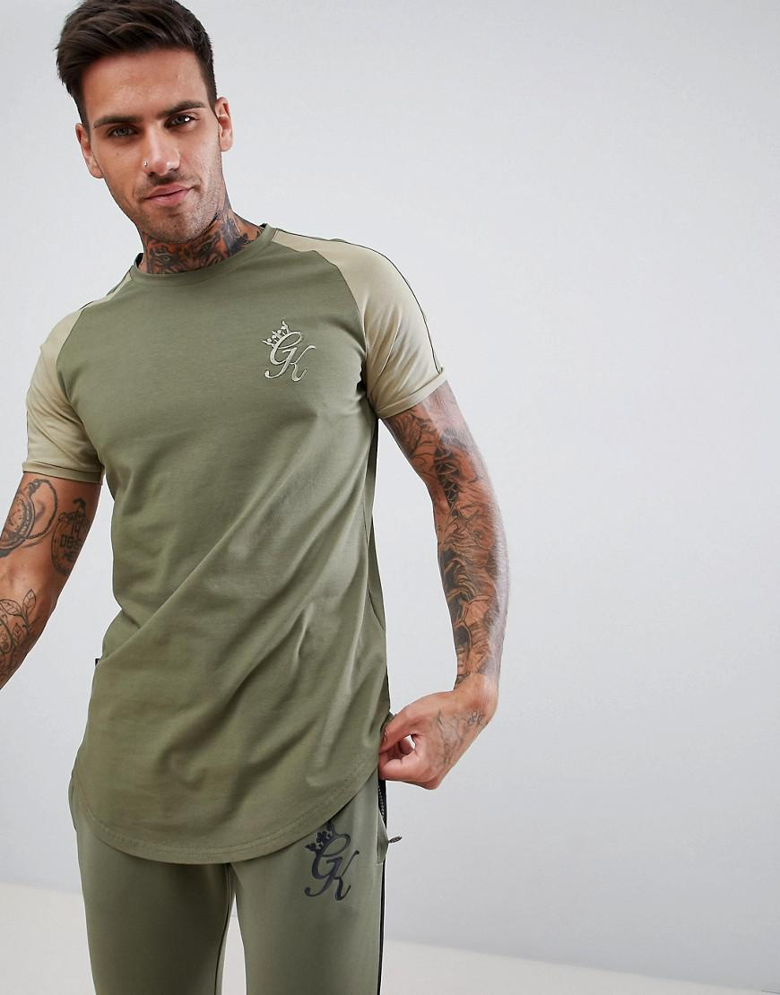595c2459 Gym King Muscle Logo T-shirt In Khaki With Contrast Sleeves in Green ...