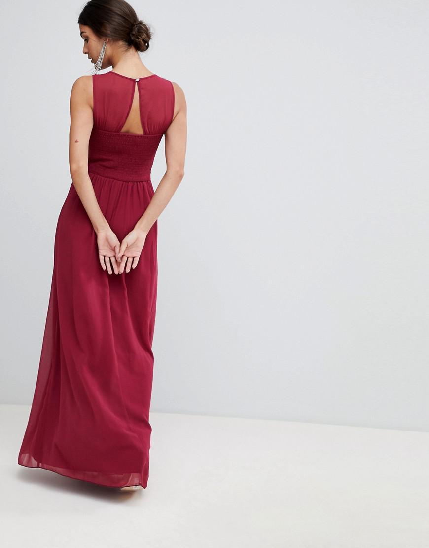 6f39aeb872d6 Lyst - Little Mistress Twist Front Split Maxi Dress in Red