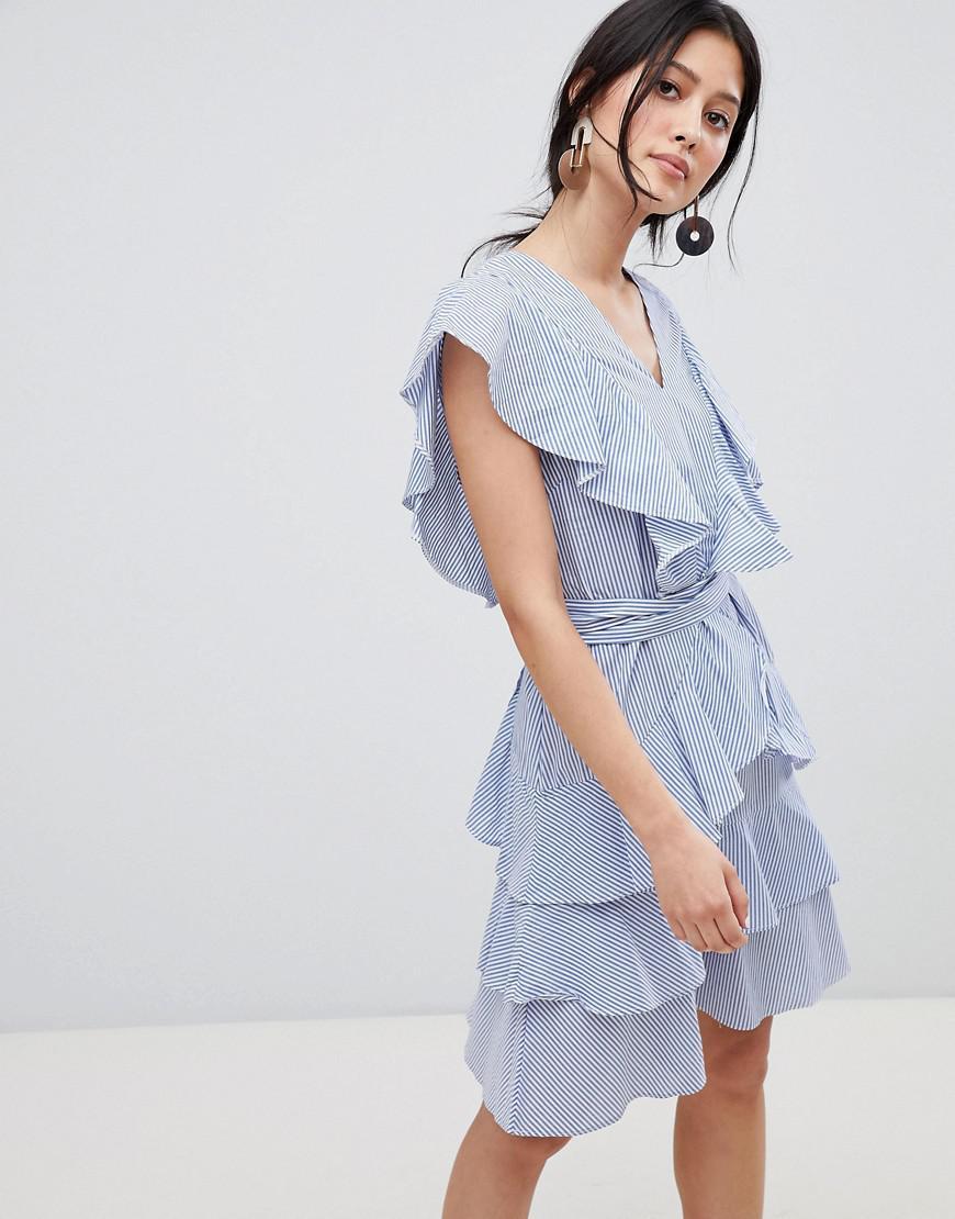 cb1a3038fd Y.A.S - Frill Detail Tiered Mini Dress In Blue - Lyst. View fullscreen