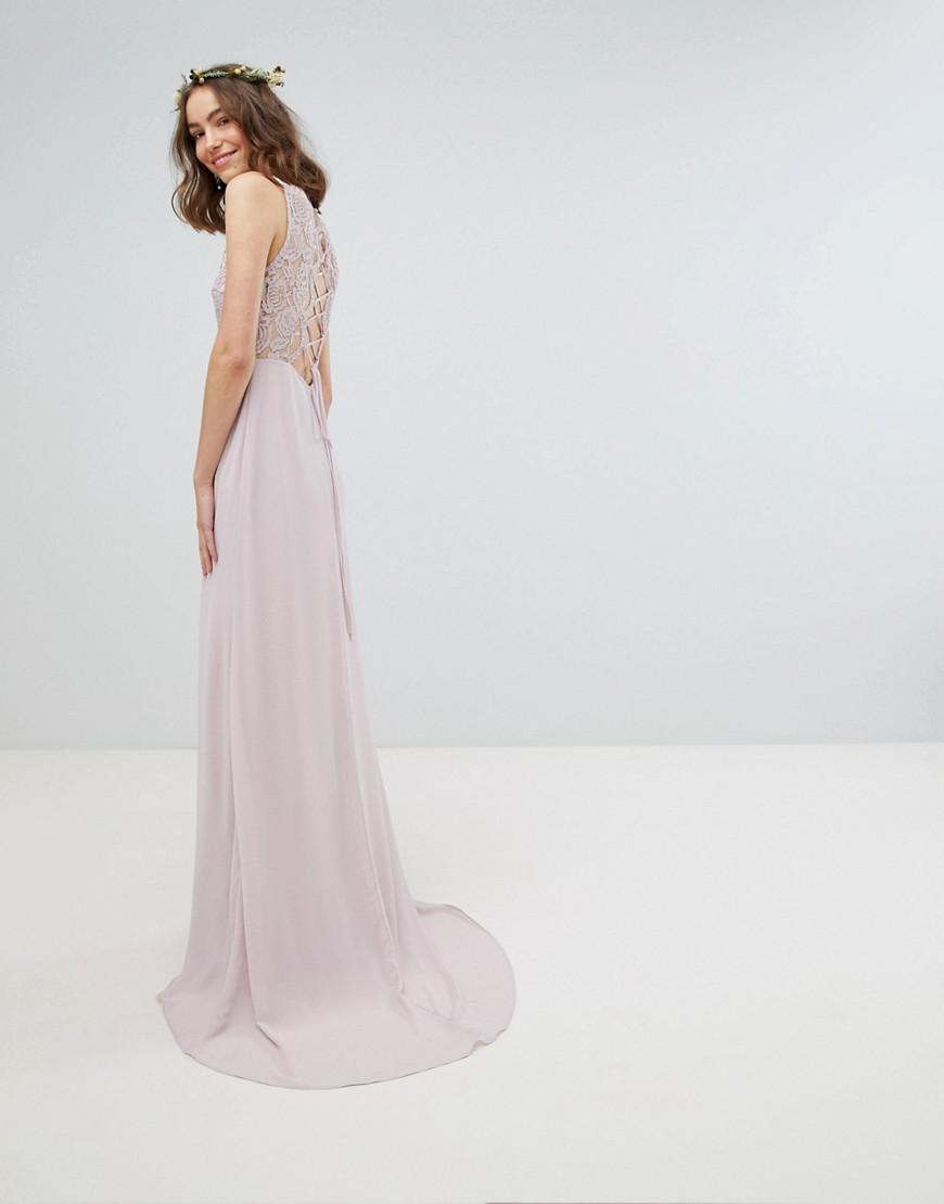 Lyst Tfnc London Lace Up Back Maxi Bridesmaid Dress With Lace Long