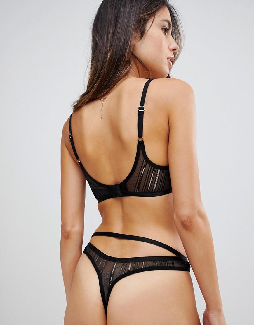 963e8eae38 Lyst - ASOS Morgan Linear Lace High Apex Triangle Bra in Black