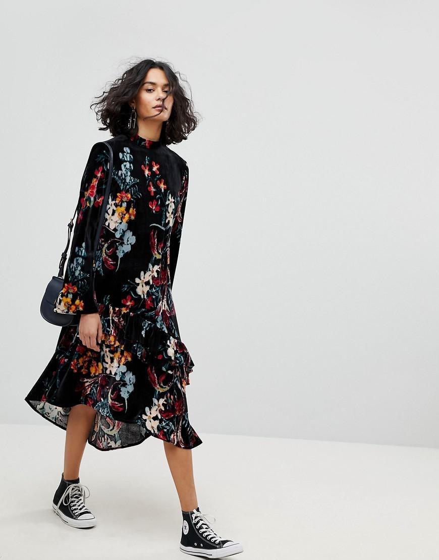 Inspired Velvet Midi Smock Dress In Floral Print - Multi Reclaimed Vintage Outlet Locations For Sale Footlocker Pictures Cheap Online Buy Cheap Order Buy Cheap Genuine 0KNkbv3