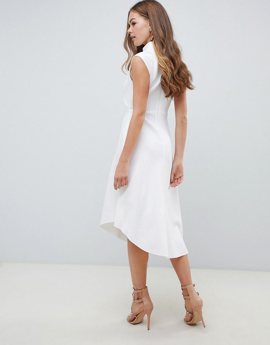 923c75bebd74 ASOS High Neck Midi Scuba Skater Dress in White - Lyst