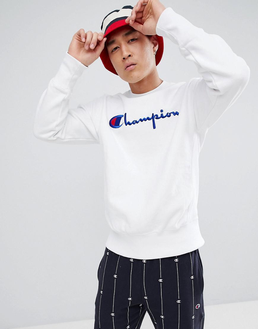 Reverse De Champion Avec Coloris Shirt Logo Blanc Grand Sweat Homme Weave Lettres Hnx1wqpn