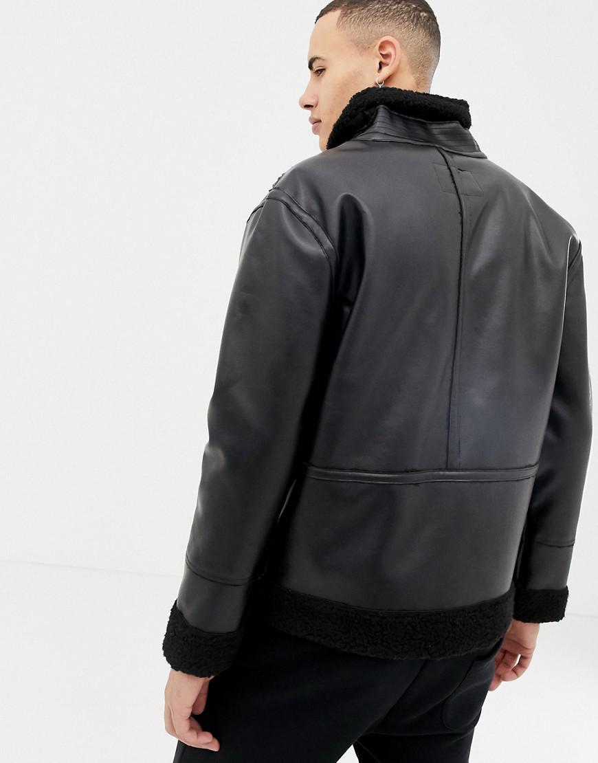 ec379b304 Lyst - D-Struct Faux Sheepskin Jacket in Black for Men