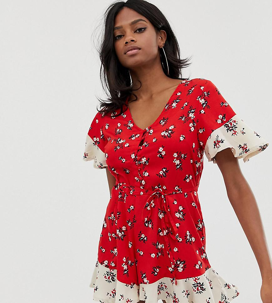 703e675e870 Boohoo Contrast Floral Romper in Red - Lyst