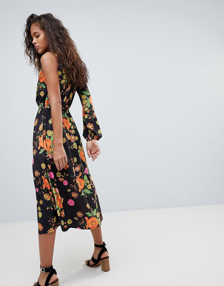 2821de838736 ASOS Asos Design Tall One Shoulder Balloon Sleeve Midi Dress In Floral  Print - Lyst