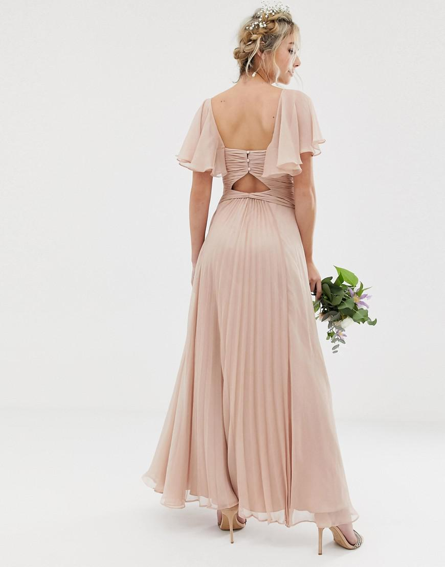 9cd9e8fbe1e1 Lyst - ASOS Bridesmaid Pleated Bodice Maxi Dress With Flutter Sleeve in Pink