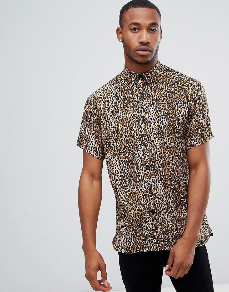 eddfc4d24f4f Bershka Shirt In Leopard Print in Brown for Men - Lyst
