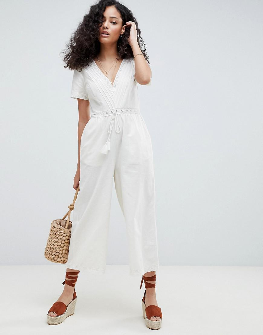 63c92763064 ASOS. Women s Cotton Embroidered Jumpsuit With Tassel Trim