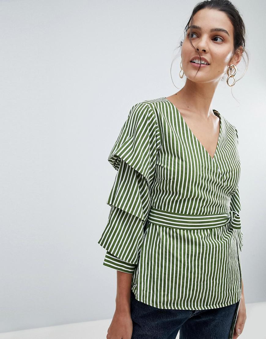 Stripe Wrap Top - Green Vila Buy Cheap 100% Authentic Discount Best Sale Outlet Cost iVMzNHTgR