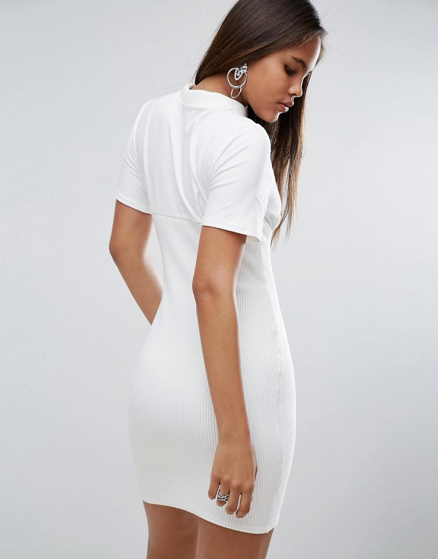 cf3e7dc2c73 ASOS Ribbed Mini Corset Dress With Wired Cups in White - Lyst