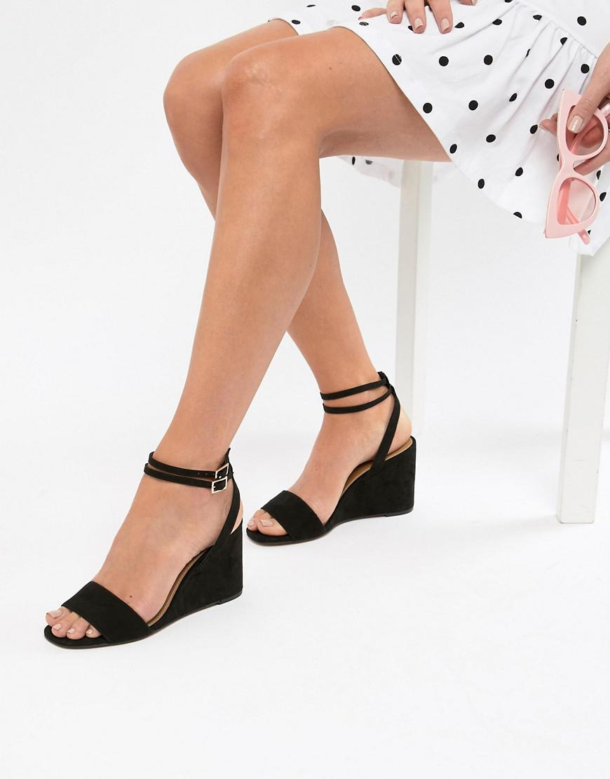 f8eda00d8b ASOS Holt Sandal Block Heeled Wedges in Black - Lyst