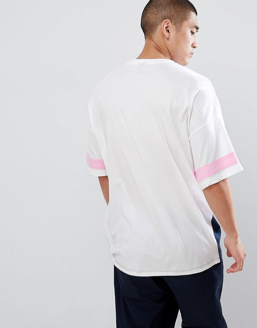 b355183e98f0 ASOS Oversized Longline T-shirt With Colour Block In White in White for Men  - Lyst