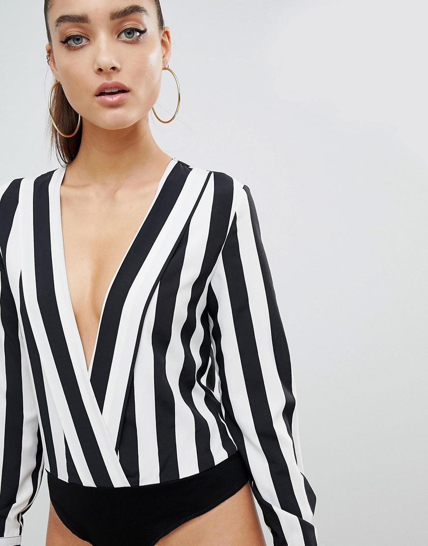 Stripe Plunge Body - Black Prettylittlething Cheap Official Rh5K852k4p
