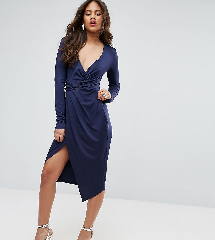 Lyst Asos Long Sleeve Wrap Front Midi Dress In Blue