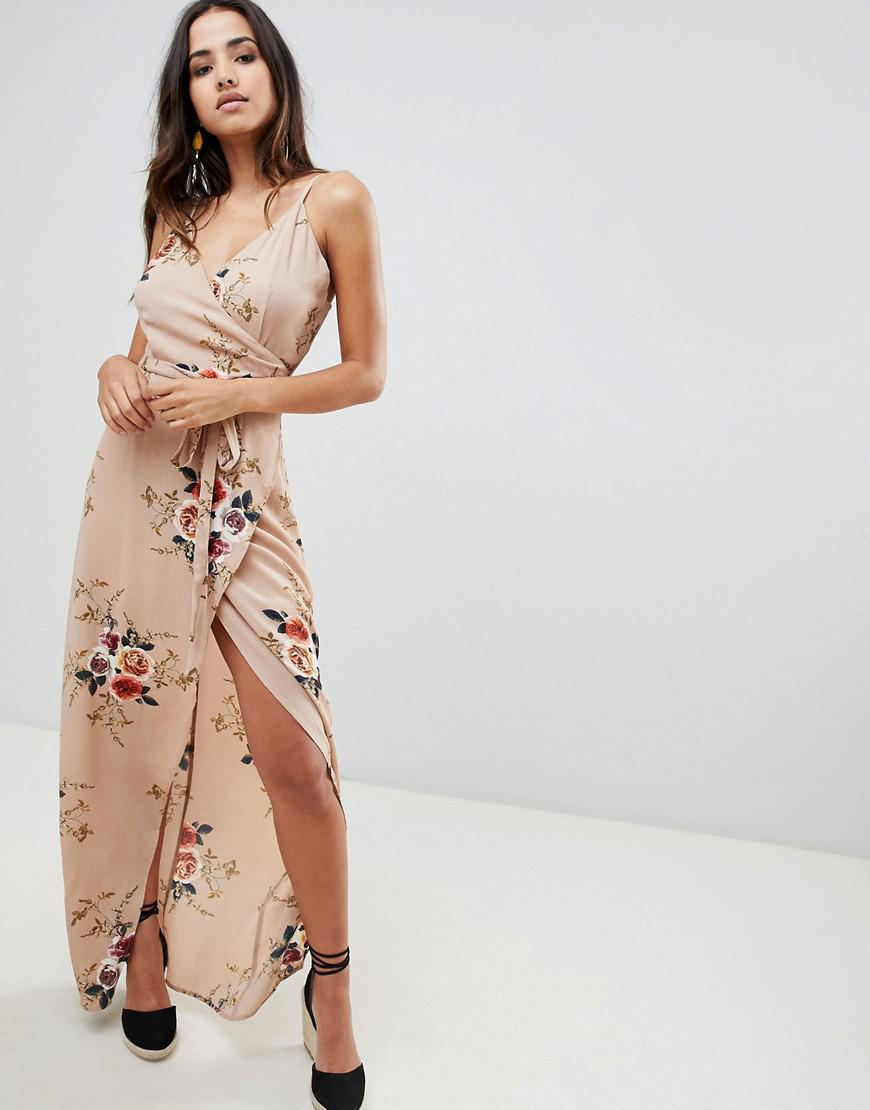 ef1535ce72 Girl In Mind Floral Wrap Front Maxi Dress in Natural - Lyst