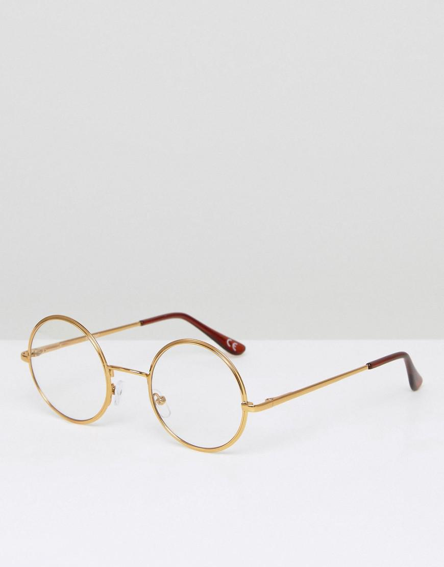 4b95a0163f8fa Asos Clear Lens Glasses In Gold Metal in Metallic for Men - Lyst