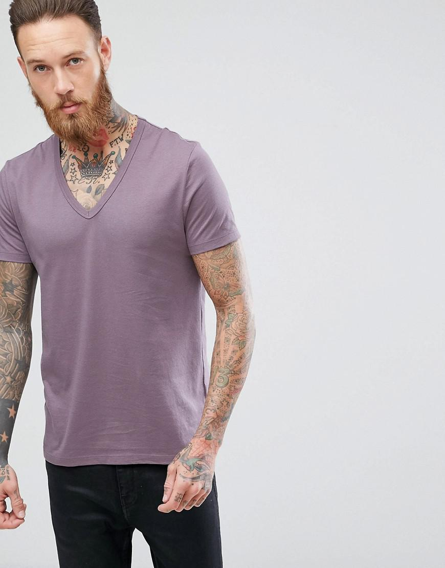74df1dc6 Lyst - ASOS T-shirt With Deep V In Purple in Purple for Men