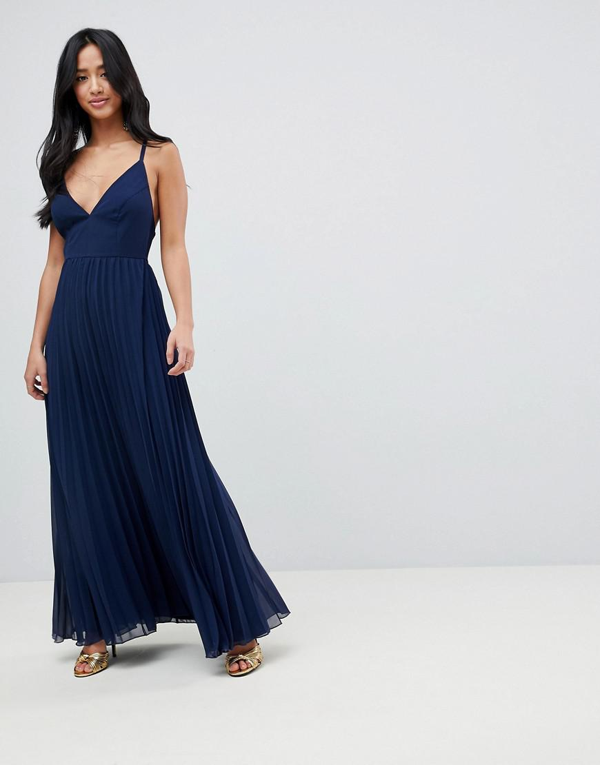 b26ca36cd8 ASOS Asos Design Petite Cami Pleated Maxi Dress With Strappy Back in Blue -  Lyst
