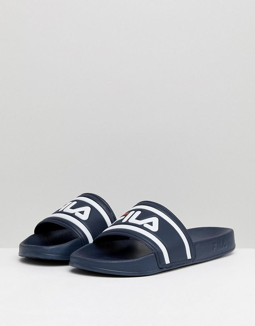 dfd14c141b82 Lyst - Fila Morro Bay Logo Sliders In Navy in Blue for Men - Save 28%
