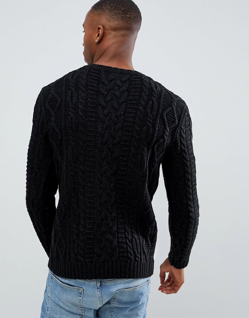 b8e84d500ee Lyst - ASOS Heavyweight Cable Knit Sweater In Black in Black for Men