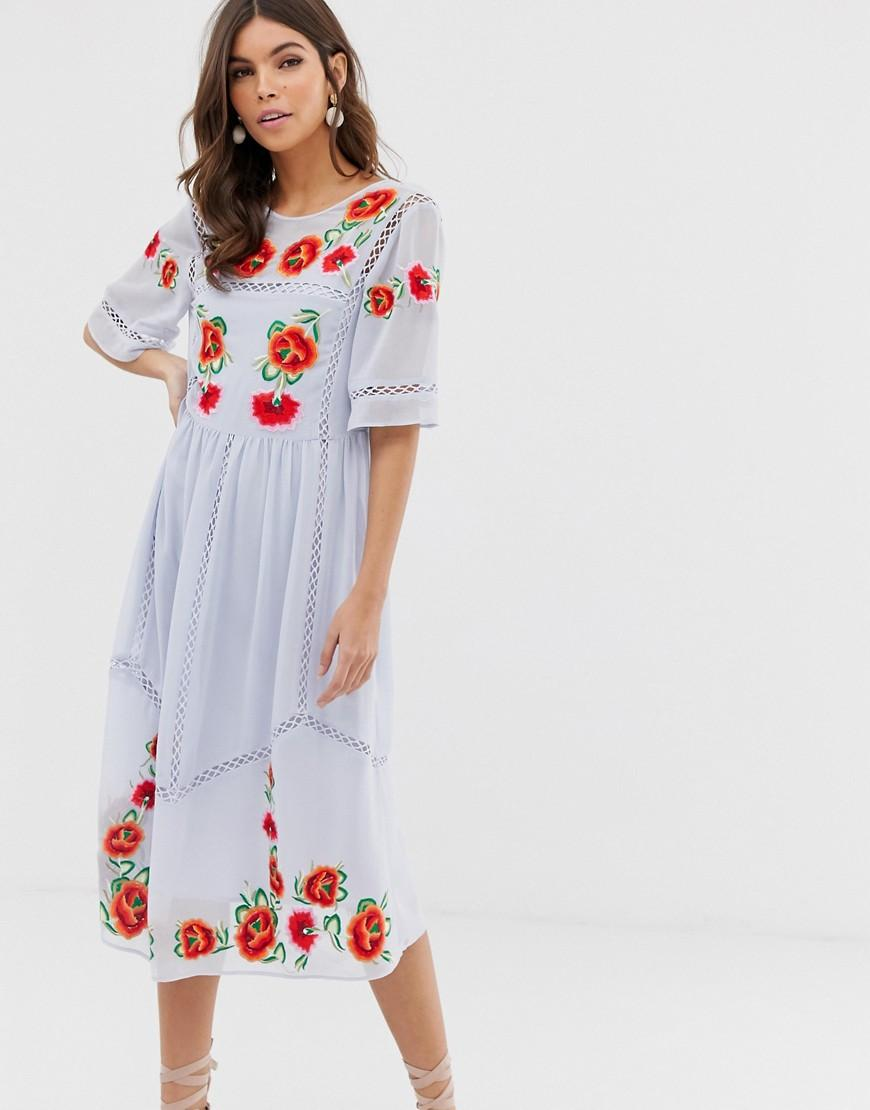 0163c1f097 ASOS Embroidered Smock Midi Dress With Ladder Trims in Blue - Lyst