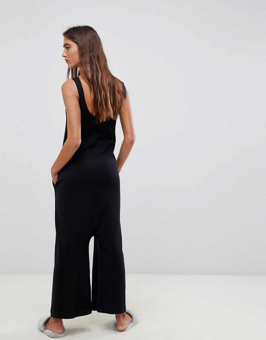 8e5292c04f9b Lyst - ASOS Premium Lounge Knitted Drop Crotch Jumpsuit in Black