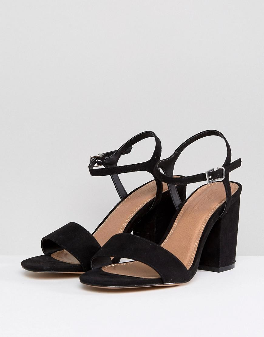 ef1d97823fee ASOS Wide Fit Winter Heeled Sandals in Black - Lyst