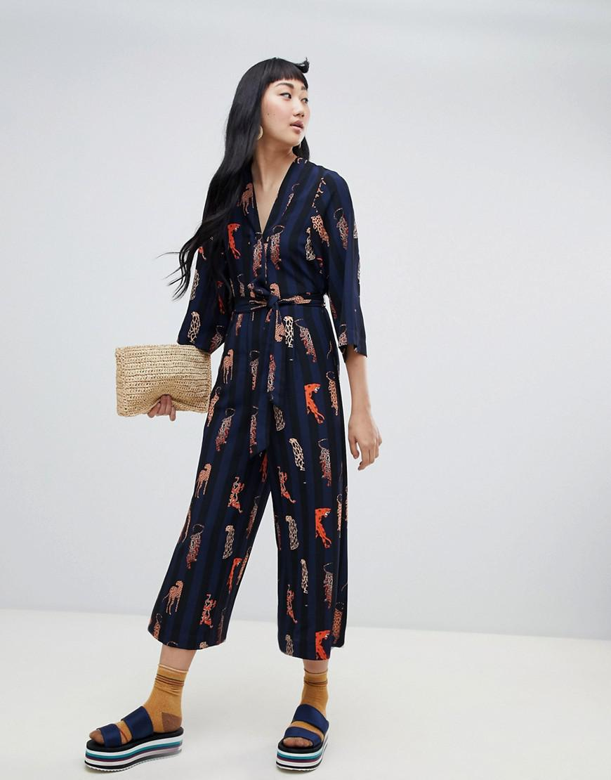 f0561afc89e2 Monki Stripe Belted Jumpsuit With Leopard Placement In Navy in Blue ...
