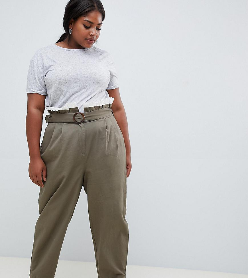 b9154f1ed091 Lyst - ASOS Asos Design Curve Peg Trousers With Lace Paperbag Waist ...