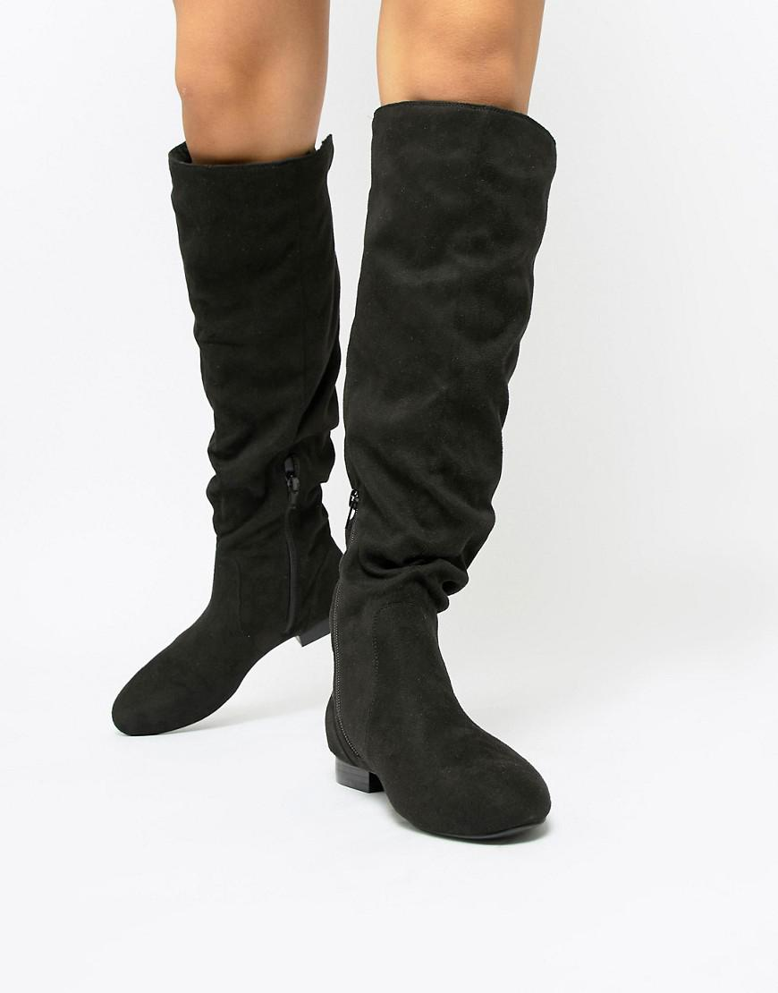 ae9b92ea2d2 Lyst - ASOS Connie Faux Shearling Knee Boots in Black