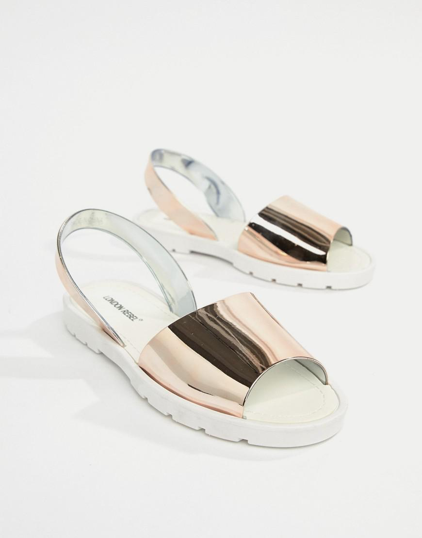 00aa99d437f79f Lyst - London Rebel Jelly Flat Sandals in White