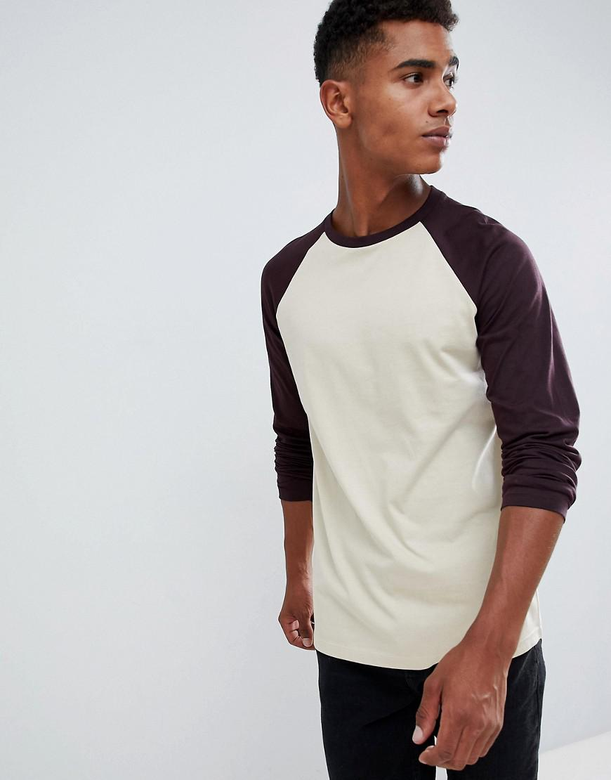 afadea0b ASOS. Men's Muscle Fit Long Sleeve Crew Neck T-shirt With Stretch With Contrast  Raglan Sleeves