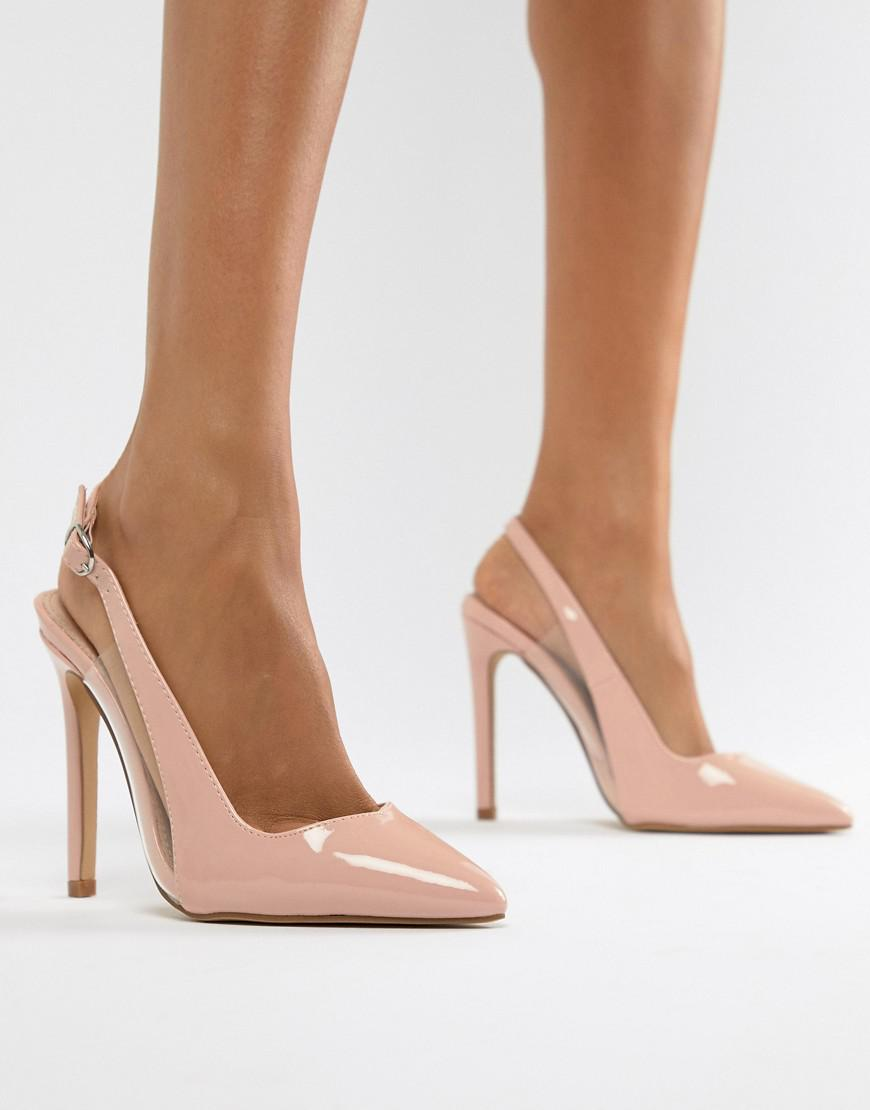 Pink Lost Lyst Shoes Tanya Clear Sling In Ink Detail Back Court 2E9DIH