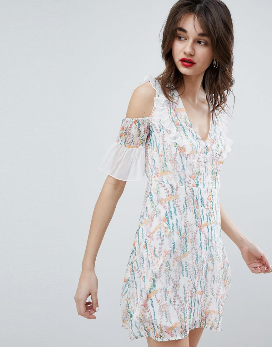b1399a6d2 Vero Moda - Multicolor Floral Print Mini Dress With Ruffle Cold Shoulder In  White - Lyst. View fullscreen