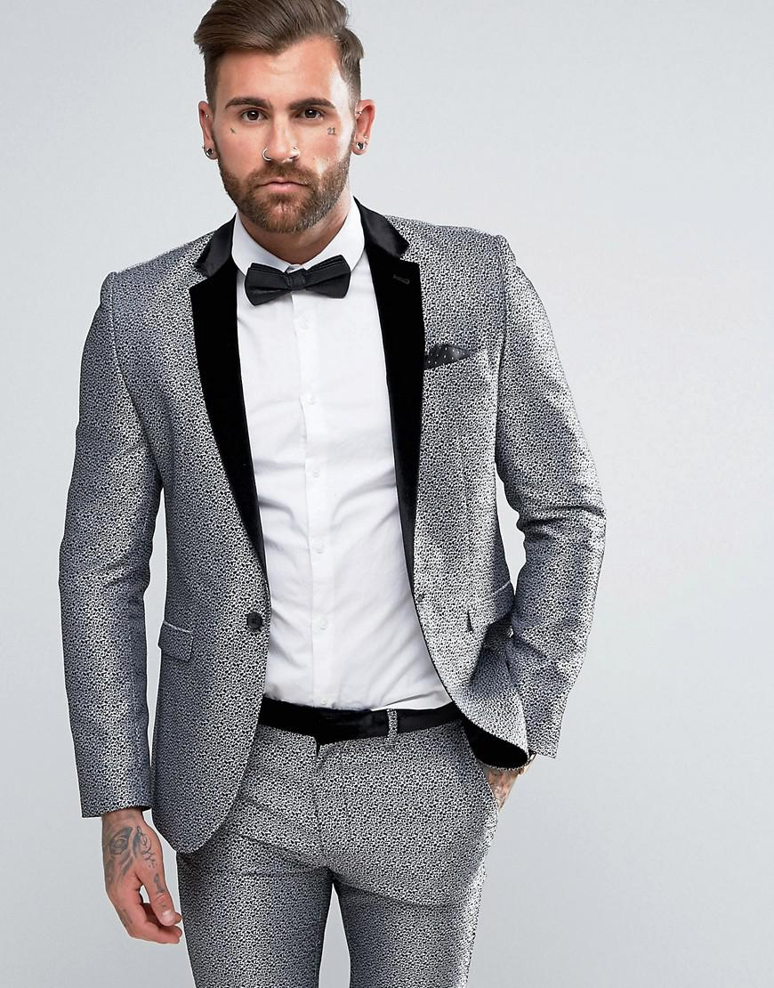 acb1aaae9848 ASOS Skinny Tuxedo Suit Jacket In Silver Leopard Print in Metallic ...