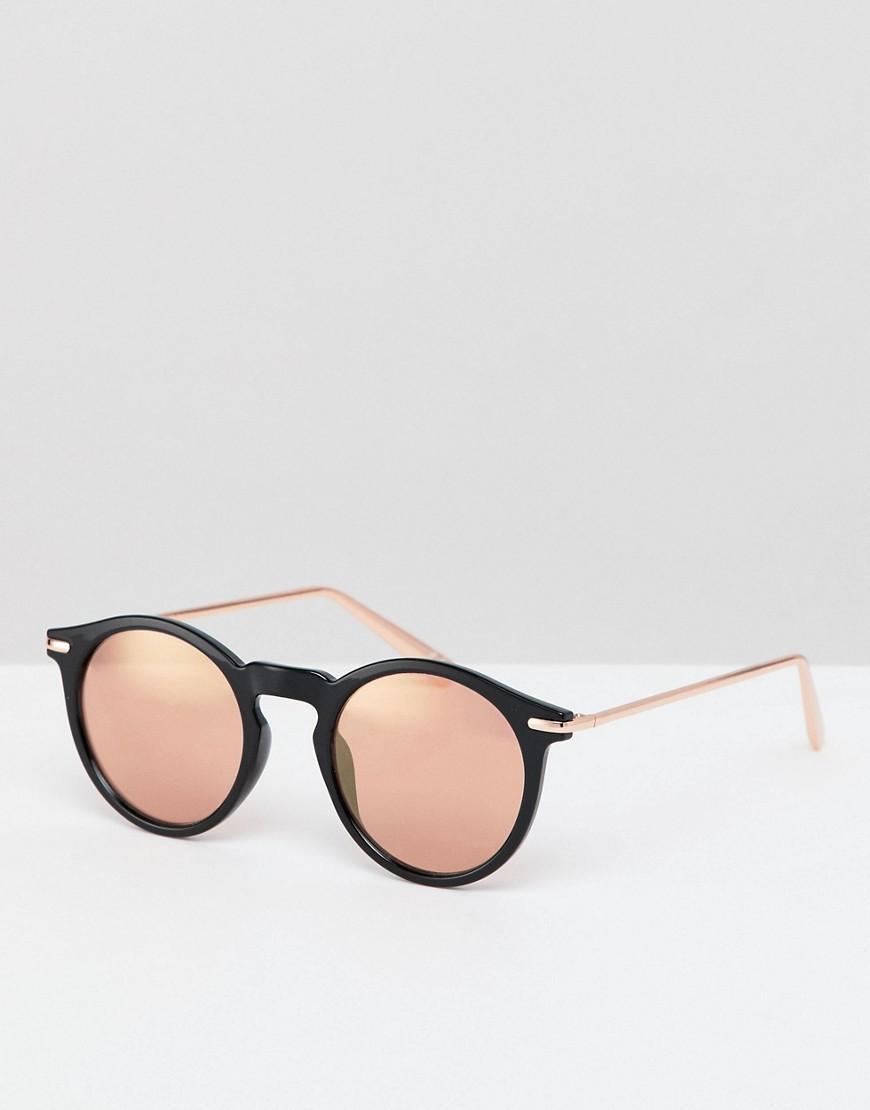 56c3ef686d ... Gafas de sol redondas negras con lentes de espejo en dorado rosa de.  Ver en pantalla completa