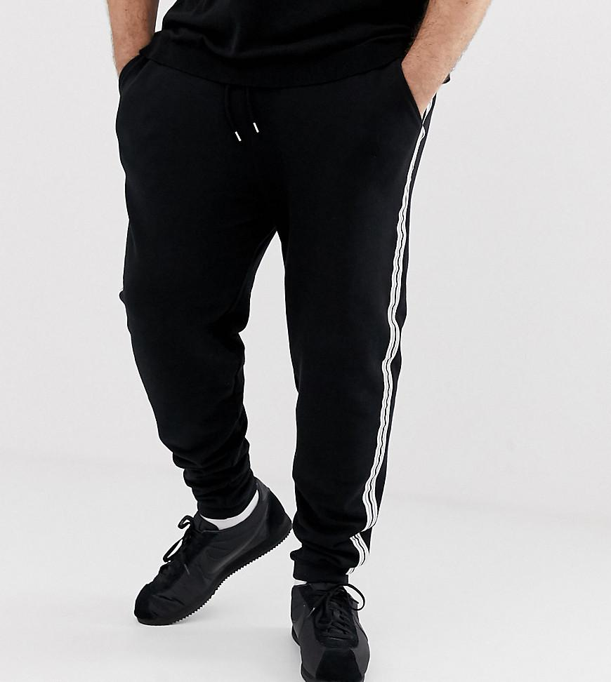 fd9056d0 ASOS Plus Skinny joggers With Side Stripe Taping In Black in Black ...