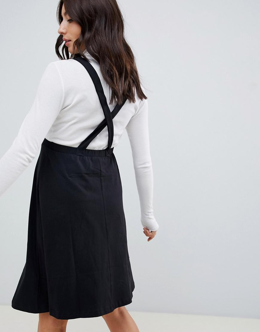 343ae277de3 ASOS Asos Design Maternity Square Neck Mini Pinafore Dress in Black - Lyst