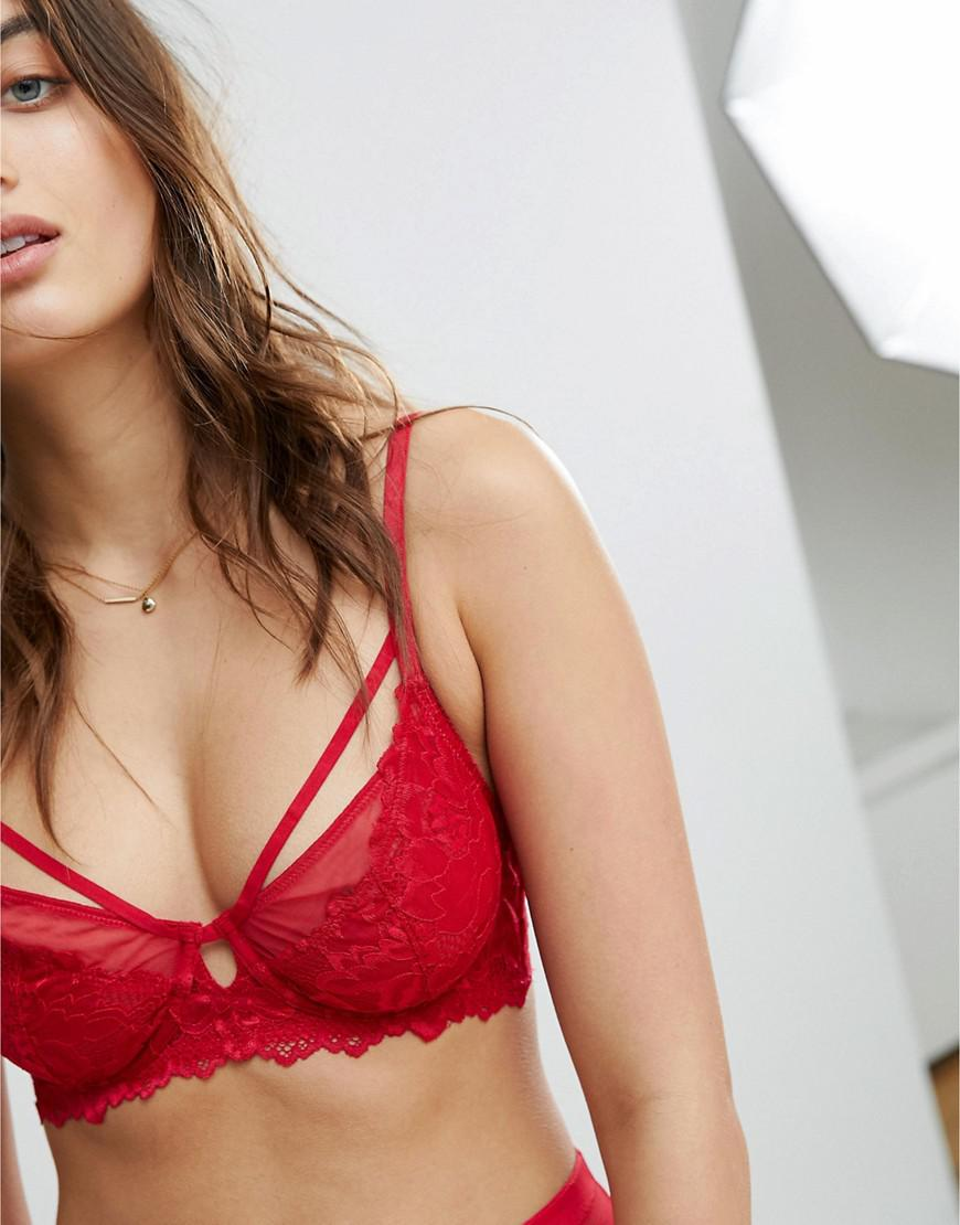 60c697c9bf Free People Strappy Red Lace Underwire Bra in Red - Lyst