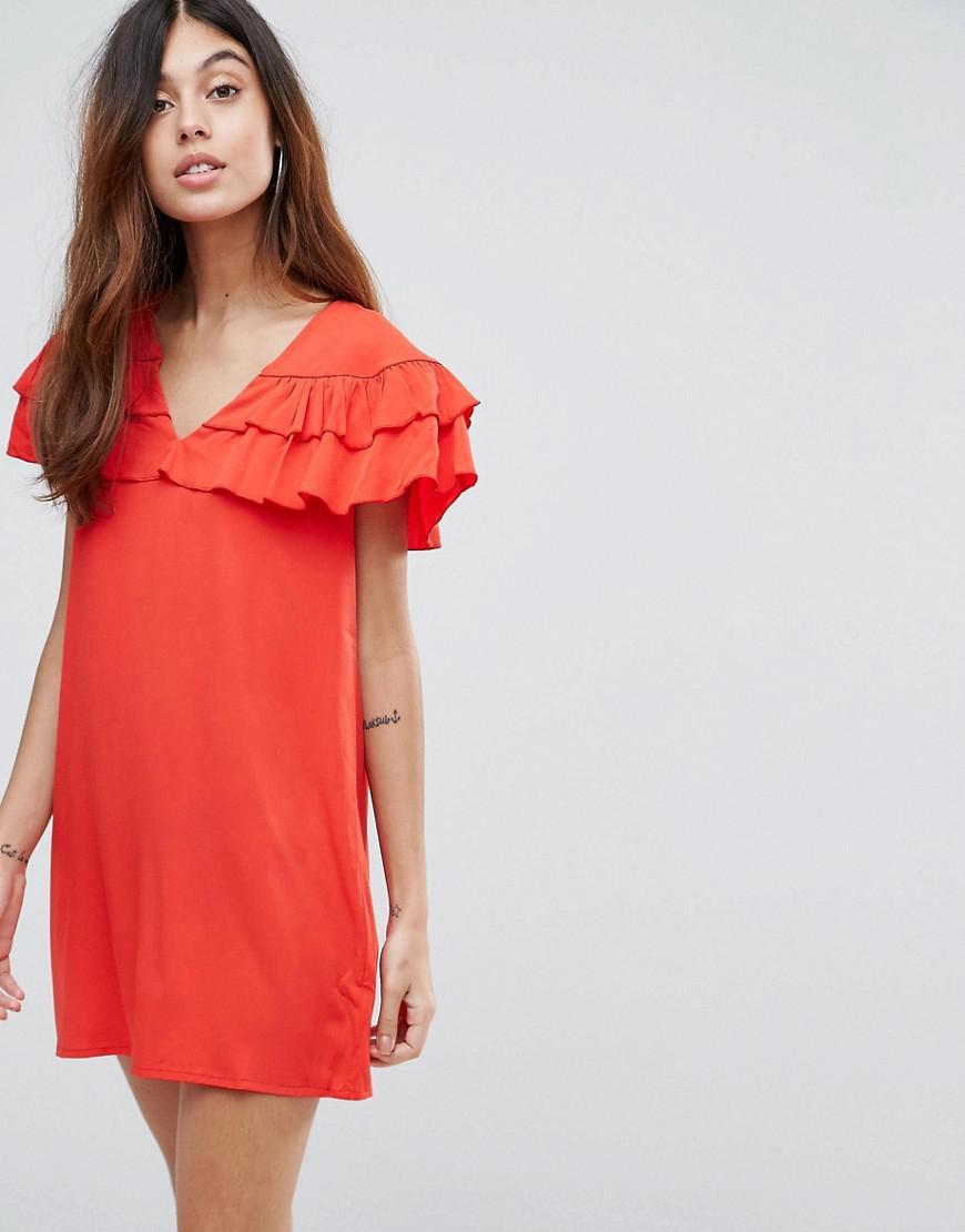Ruffle Sleeveless Dress - Fiery red Vila 4z0fJCO