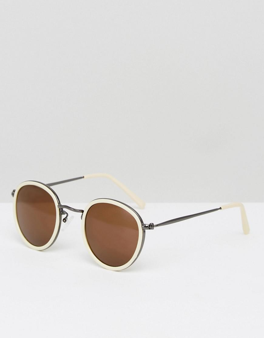 fe69c0ea1c Lyst - ASOS Round Sunglasses In Yellow With Gunmetal Details in ...