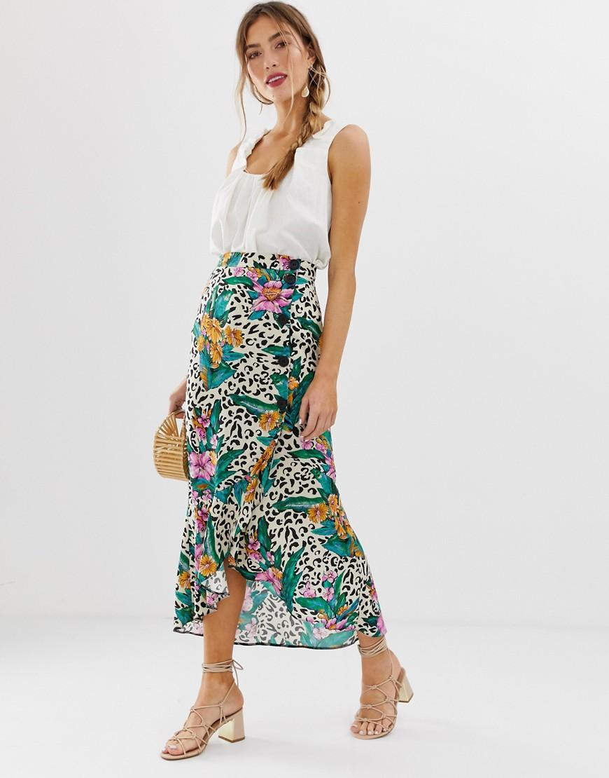 9f1a1effdb ASOS. Women's Wrap Button Up Midi Skirt In Tropical Animal Print