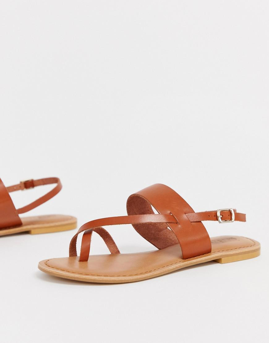 0fd017c5a6e Lyst - ASOS Flisse Leather Flat Sandals in Brown