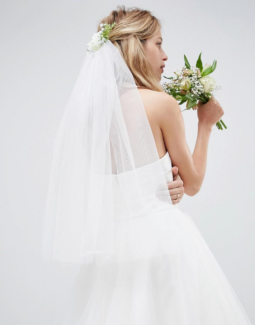 DESIGN Bridal Veil And Floral Comb - White Asos qkmtQcRJ5X