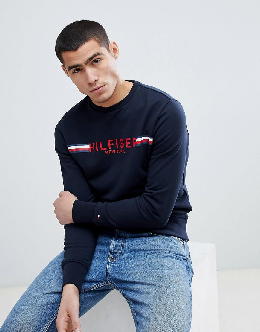 a587f7bb Tommy Hilfiger Koby Icon Stripe Logo Sweatshirt In Navy in Blue for ...
