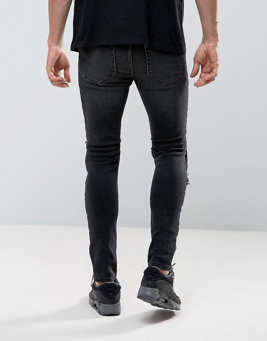 5e21e888b29f Lyst - Jean super skinny style motard effet dchir et rapic en similicuir  ASOS pour homme en coloris Noir