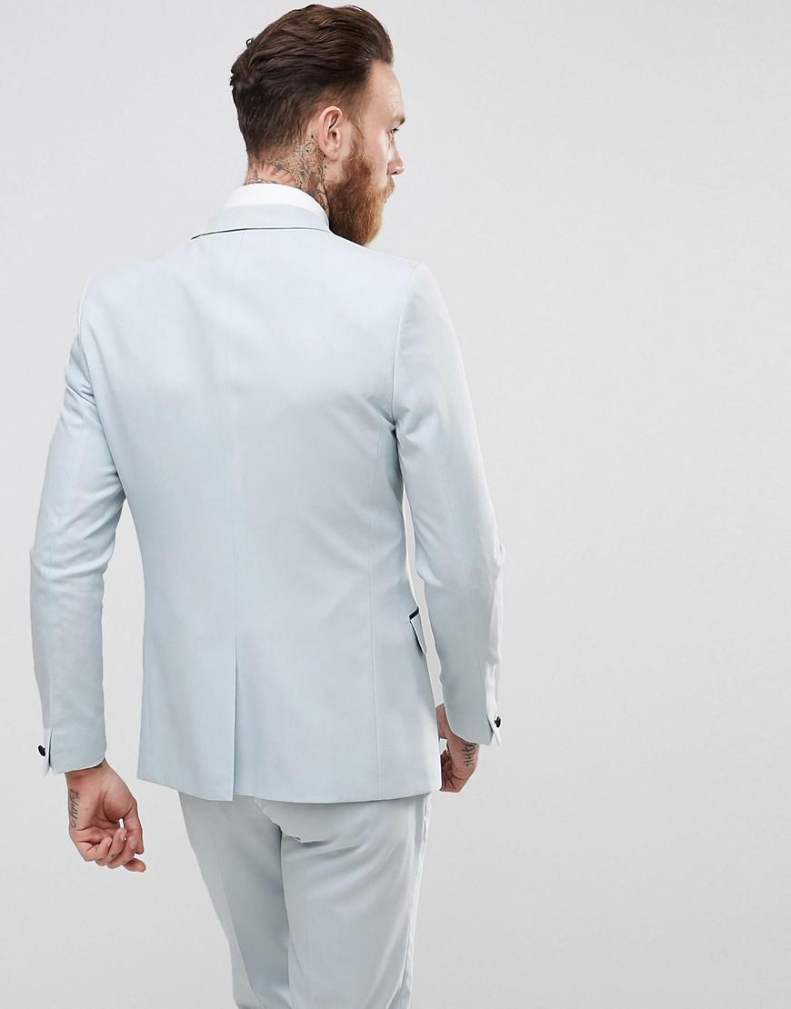 Lyst - Asos Wedding Skinny Tuxedo Suit Jacket In Ice Blue in Blue ...