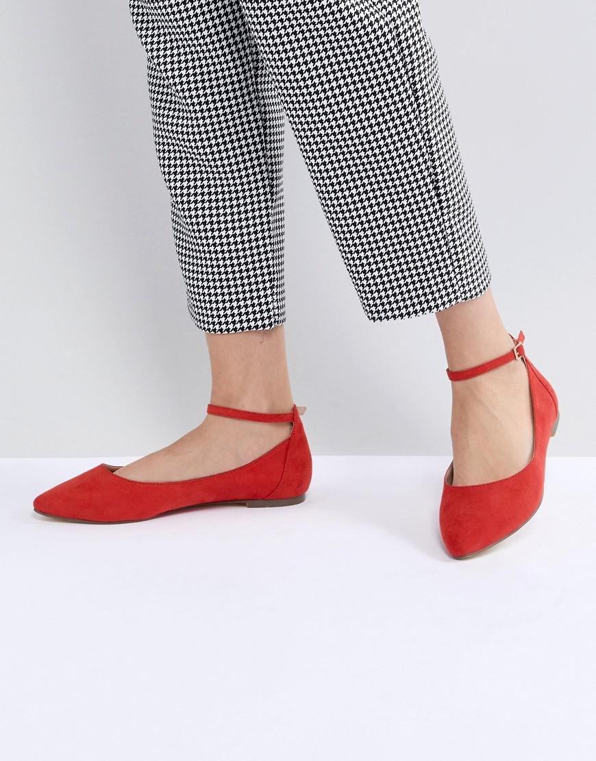 Faith ALLIE - Ankle strap ballet pumps - red wLUOAK91